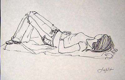 Drawing - Slumbering...sweet Dreams by Lee Nixon