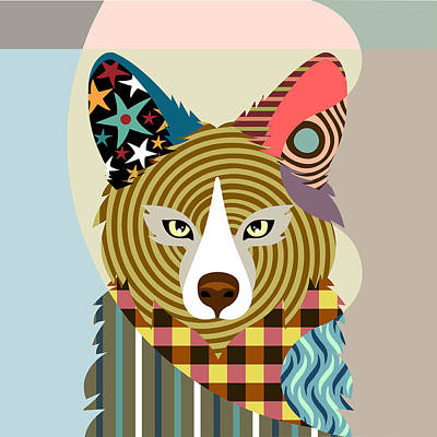 Purebred Digital Art - Sly As A Fox by Lanre Studio