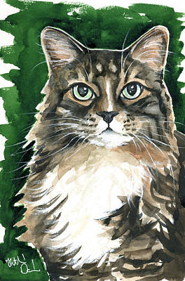 Painting - Sly / Fluffy Tabby Cat Portrait by Dora Hathazi Mendes