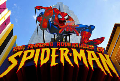 Photograph - Spider Man Ride Sign.  by David Lee Thompson