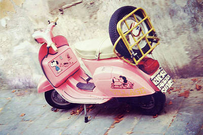 Pink Peanuts Vespa Art Print