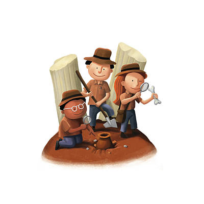 Mixed Media - Small Archaeologists by Roberto Weigand