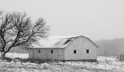 Photograph - Small Barn In White by J L Zarek