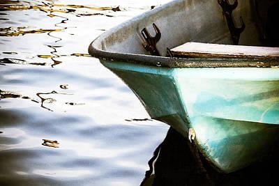 Rowboat Digital Art - Small Blue Boat by Taya Johnston