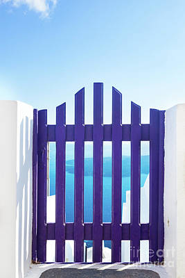 Fence Photograph - Small Blue Fence Gate In Oia On Santorini Island, Greece. by Michal Bednarek