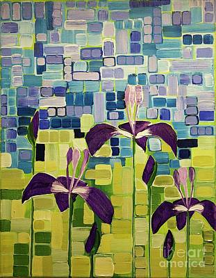 Painting - Small Blue Flags by Donna Howard