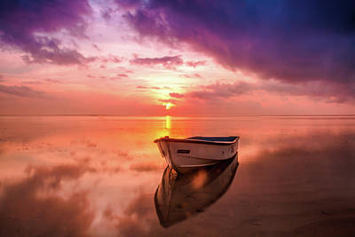 Photograph - Small Boat At The Sand Beach At Sunset Time by Wall Art Prints