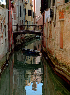 Small Boat On Canal In Venice For Vrooman Art Print by Michael Henderson