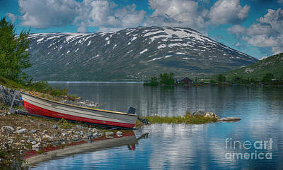 Photograph - Small Boat On Trailer At Fjord In Norway by Compuinfoto