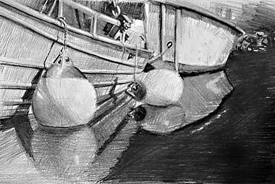 Bouys Drawing - Small Boats Moored by William Hay