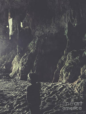 Photograph - Small Boy In Cave by Patricia Hofmeester