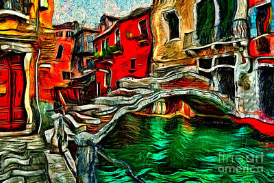 Painting - Small Bridge Venice by Milan Karadzic