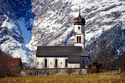 Small Church And The Huge Rock Wall In The Background Original