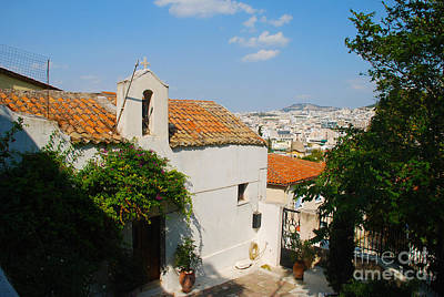Greek Photograph - Small Church And View Of Athens Greece by Just Eclectic