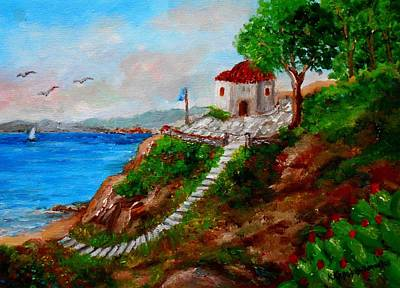 Painting - Small Church In Greece by Constantinos Charalampopoulos