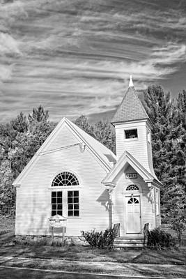 Coy Fish Michael Creese Paintings - Small Country Church In Maine Black and White Photo by Keith Webber Jr