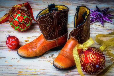 Photograph - Small Cowboy Boots Christmas by Garry Gay