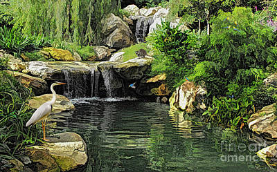 Digital Art - Small Creek Waterfall With Wildlife by Walter Colvin