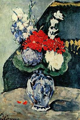 Painting - Small Delft Vase With Flowers by Paul Cezanne