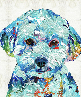 Painting - Small Dog Art - Soft Love - Sharon Cummings by Sharon Cummings
