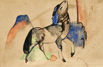 Franz Marc Drawing - Small Fabulous Beast II by Franz Marc