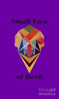 Painting - Small Face Of Devil Text by Michael Bellon