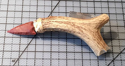 Sculpture - Small Flint Knife Fluted Handle by Kevin Callahan