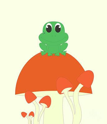 Kawai Digital Art - Small Frog Sitting On A Mushroom  by Kourai