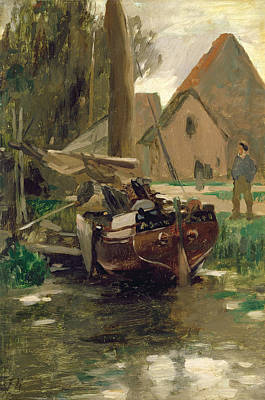 Mit Painting - Small Harbor With A Boat  by Thomas Ludwig Herbst