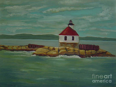 Painting - Small Island Lighthouse by Lilibeth Andre
