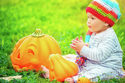 Photograph - Small Kid Celebrating Halloween by Anna Om