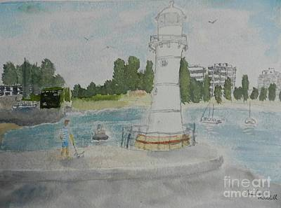 Painting - Small Lighthouse One Belmore Basin by Pamela Meredith