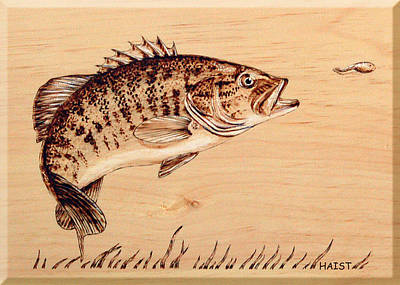 Pyrography - Small Mouth Bass by Ron Haist