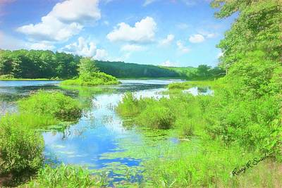 Digital Art - Small New England Pond. by Rusty R Smith