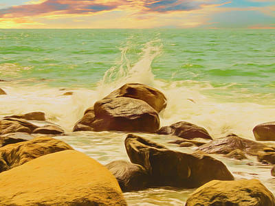Digital Art - Small Ocean Waves,large Rocks. by Rusty R Smith