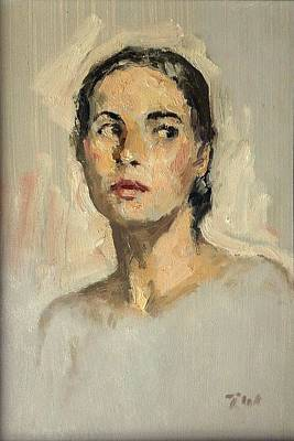 Painting - Small Oil Painting Portrait Study Young Woman by Thor Wickstrom