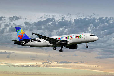 Small Planet Airlines Airbus A320-214 Art Print