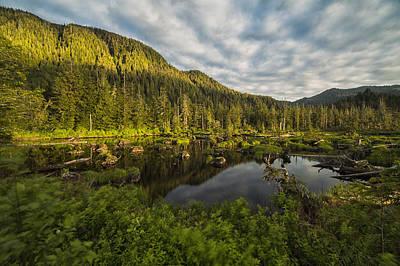 Prince Rupert Photograph - Small Pond Near Prince Rupert Being Lit by Robert Postma
