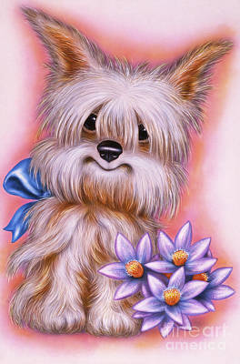Puppies Mixed Media - Small Puppy #16 by Michael Seleznev