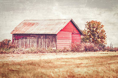 Southern Indiana Autumn Photograph - Small Red Barn by Andrea Kappler