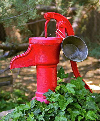 Photograph - Small Red Water Pump by Denise Mazzocco