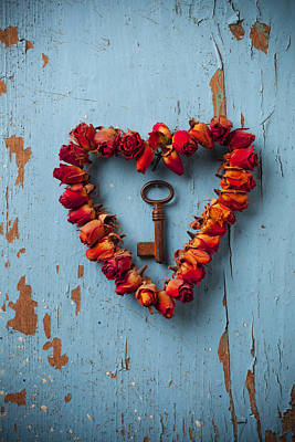 Weathered Photograph - Small Rose Heart Wreath With Key by Garry Gay