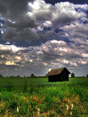 Shed Digital Art - Small Shed In The Field by Mladen Maricic
