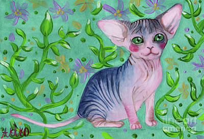 Sphynx Cat Painting - Small Sphynx by Akiko Okabe