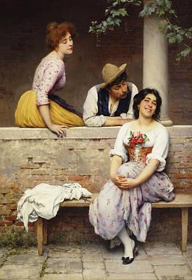 Threesome Painting - Small Talk by Eugen von Blaas
