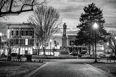 Small Town America Skyline - Downtown Bentonville Square  - Black And White Art Print