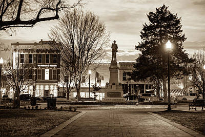 Photograph - Small Town America Skyline - Downtown Bentonville Square  - Sepia by Gregory Ballos