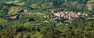 Photograph - Small Town And Old Aqueduct Among Mountains In Spain by Eduardo Jose Accorinti