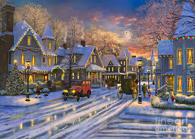 Small Town Christmas Art Print by Dominic Davison