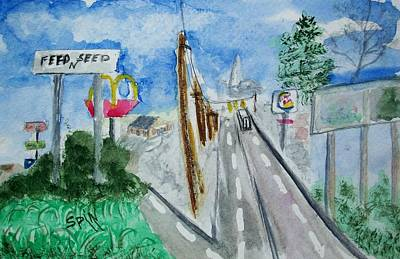 Burger King Painting - Small Town City Limits by Spencer  Joyner